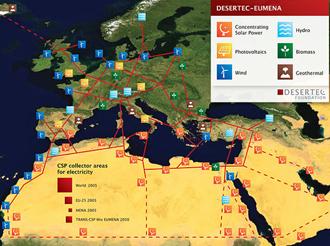 40 DESERTEC Map par 330x240 Δυνατότητα Συγκεντρωτικών Ηλιακών Συστημάτων CSP παραγωγής ηλεκτρικής ενέργειας και στην Ελλάδα.