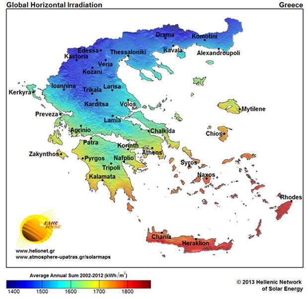 solarmaps Νέοι κλιματολογικοί χάρτες ηλιακής ενέργειας για την Ελλάδα